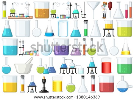 Collection of science lab equipment