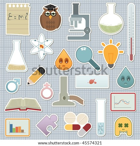 collection of science related stickers on graph paper