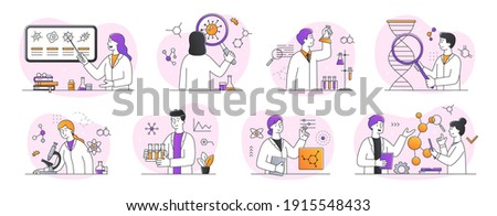 Collection of scientific research in laboratory abtsract concepts. Young scientists, chemists, doctors, microbiologists, work in laboratory. Set of outline minimal style flat vector illustrations Zdjęcia stock ©