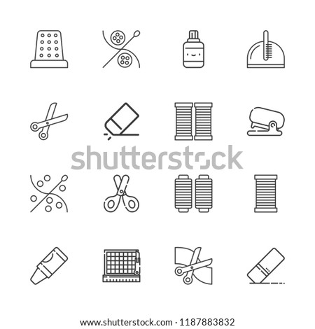 Collection of 16 scissors outline icons include icons such as eraser, crayon, cutting, scissors, comb, thread, stapler, correction fluid, thimble