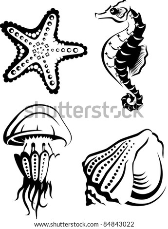 Collection of sea animals in outline style