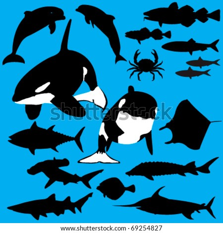 Collection of sea creatures vector silhouettes