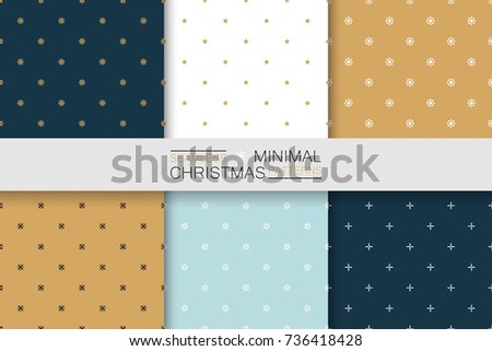Collection of seamless christmas patterns - minimalistic design. Simple colorful backgrounds.