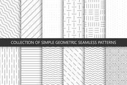 Collection of seamless geometric minimalistic patterns.