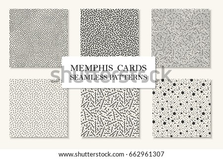 Collection of seamless memphis patterns, cards. Curved, dotted mosaic textures. Trendy repetitive design. Retro fashion style 80 - 90s.