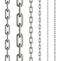 collection of seamless metal chains colored silver