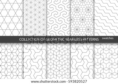 Collection of seamless ornamental patterns. - Shutterstock ID 593820527
