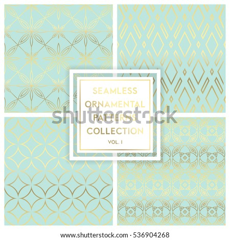 Collection of seamless ornametal patterns. Gold texture on blue. Seamless geometric pattern. Golden background. Vector seamless pattern. Geometric background with rhombus. Abstract geometric pattern.