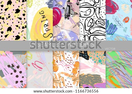 Collection of seamless patterns. Abstract design elements in set. Doodles with crayon and grunge texture roughly hand drawn. #1166736556