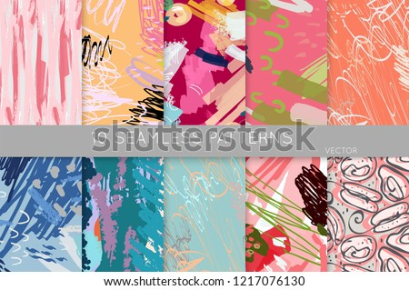 Collection of seamless patterns. Abstract design elements in set. Doodles with crayon and grunge texture roughly hand drawn. #1217076130