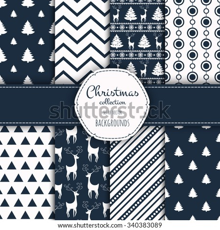 Collection of seamless patterns. Merry Christmas and Happy New Year! Set of seamless backgrounds with traditional symbols:  snowflakes, pine tree, deer and suitable abstract patterns.
