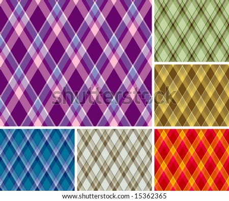 Collection of seamless plaid patterns. Volume 7