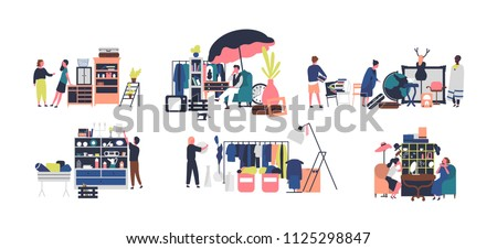 Collection of sellers and counters of flea market, rag fair. People selling vintage goods, jewelry and stylish clothing isolated on white background. Vector illustration in flat cartoon style.