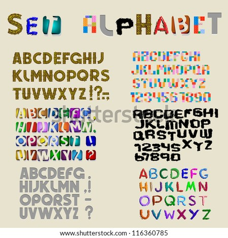Collection of 6 sets of latin alphabet Vector eps10