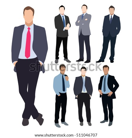 Collection of seven man silhouettes, dressed in business style. Formal suit, tie, different poses. Flat style vector image.