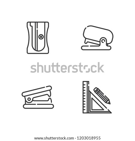 Collection of 4 sharpener outline icons include icons such as sharpener, stationery, stapler remover