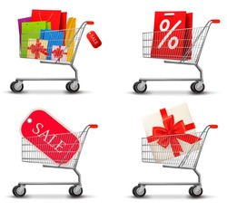 Collection of shopping carts full of shopping bags and gift boxes. Concept of discount. Vector.