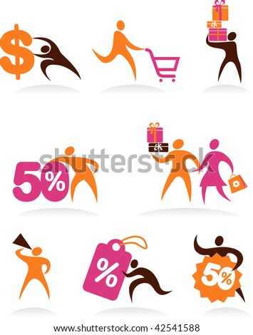 collection of shopping people