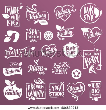 Collection of signs and elements for natural cosmetics and beauty products. Vector illustrations on a stylized background, for cosmetics, healthcare, spa and wellness.