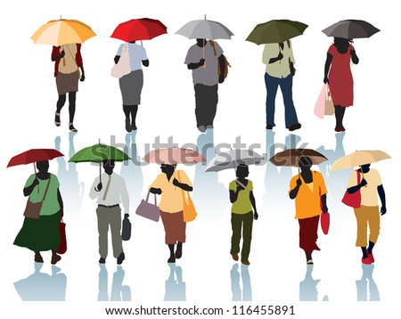 Collection of silhouette - people walking with umbrellas.