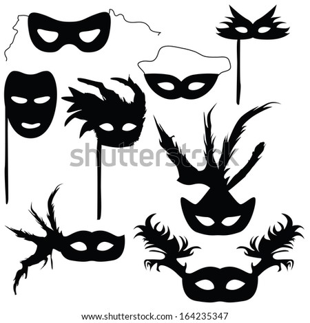 Collection of silhouettes carnival masks (vector illustration)