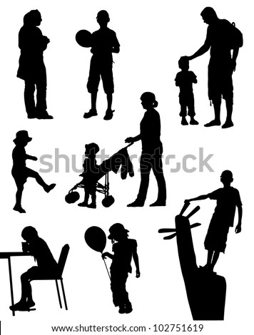 Collection of silhouettes of children and people on walk