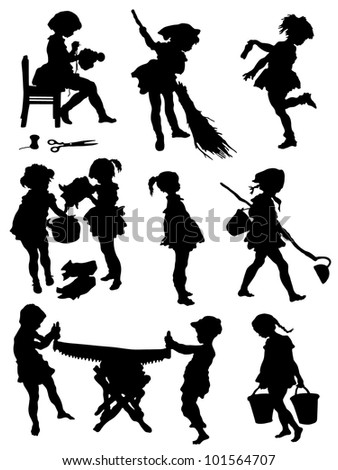 Collection of silhouettes of children taken with work