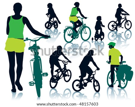 Collection of silhouettes of cycling people. Vector illustration.