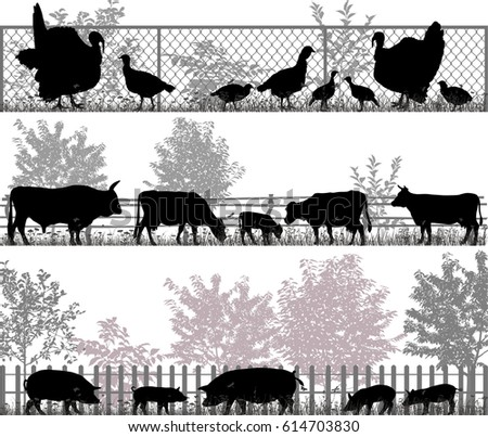 Collection of silhouettes of farm animals - turkeys, cows and pigs