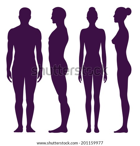Collection of silhouettes of man and woman in front and side view. Vector illustration, isolated on white background