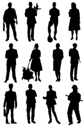 Collection of silhouettes of people of different specialty