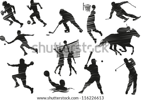 Collection of silhouettes of sports activities.