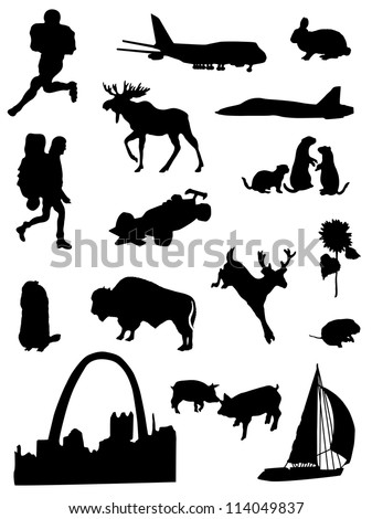 Collection of silhouettes of the Central part  United States of America