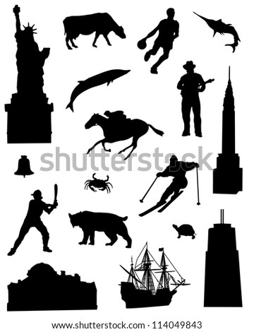Collection of silhouettes of the North East United States of America