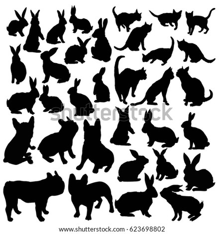collection of silhouettes  pets