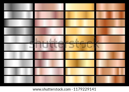 Collection of silver, chrome, gold, rose gold and bronze metallic gradient. Vector illustration.