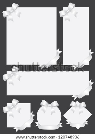 Collection of silver gift cards/notes with ribbons. Vector illustration.