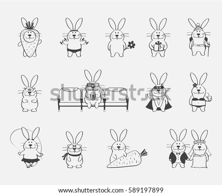 collection of simple cartoon