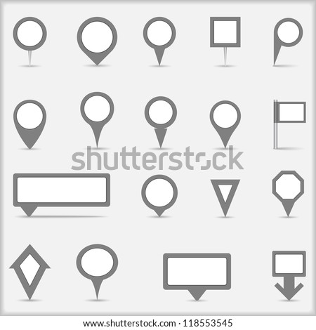 Collection of simple gray map markers, vector eps10 illustration - stock vector
