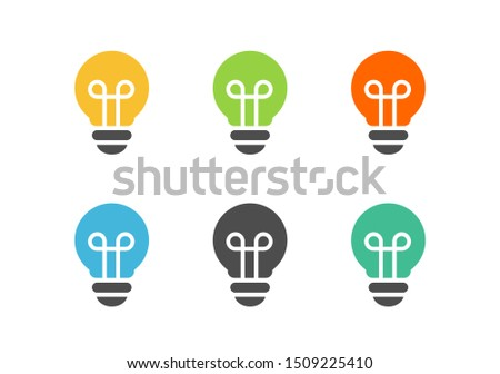 Collection of simple lightbulbs, simple light bulb icon set - Vector