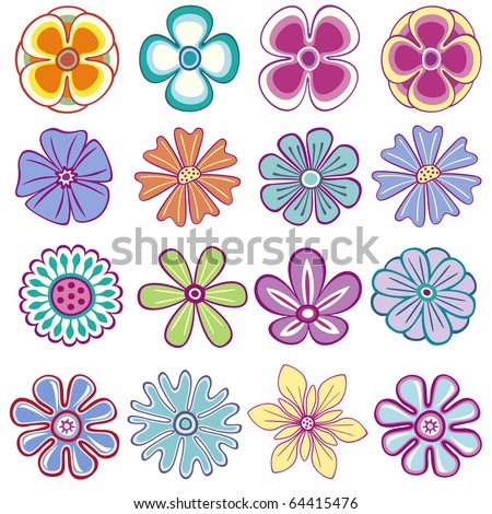 Collection of single vector flowers