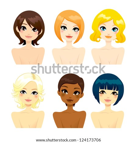 Collection of six beautiful multi-ethnic women faces with different short hair hairstyles
