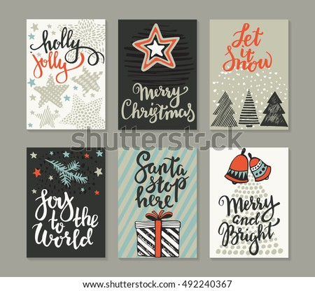 collection of six christmas cards greeting card set with hand drawn xmas tree presents - Christmas Card Design