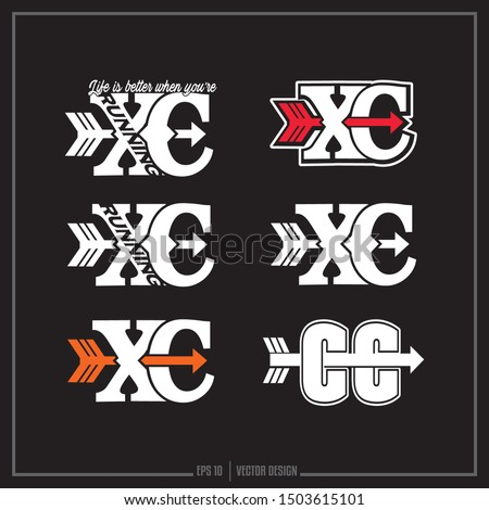 Collection of six Cross Country white, red and orange insignias, Sports designs