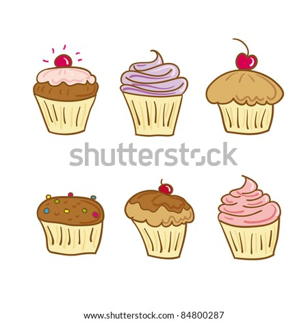 collection of six cupcakes in vector