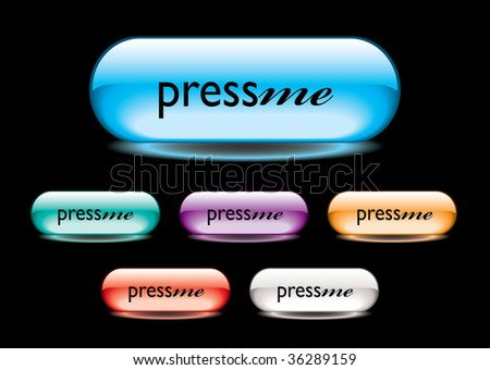 collection of six gel filled buttons with press me text