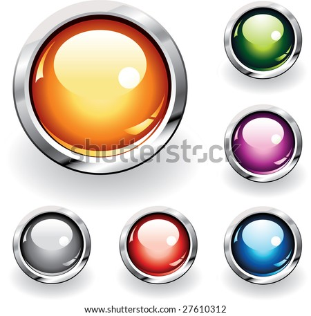 Collection of six glossy buttons in various colors