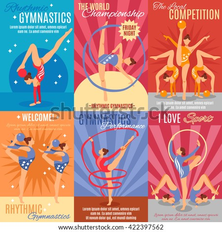 Collection of six rhythmic gymnastics posters with advertising of oncoming world championship and gymnast performance presentation flat vector illustration