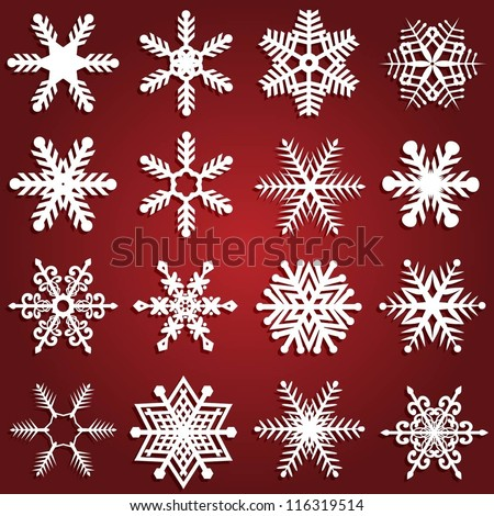 Collection of sixteen different snowflake design - stock vector