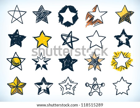 Collection of sixteen handdrawn pen and ink stars in various shapes and designs, some with a yellow highlight, on white
